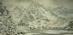 Зимний пейзаж с журавлями