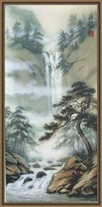Водопад и сосны